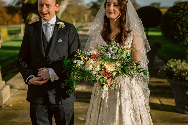 Bride and Groom Just Married with Bouquet