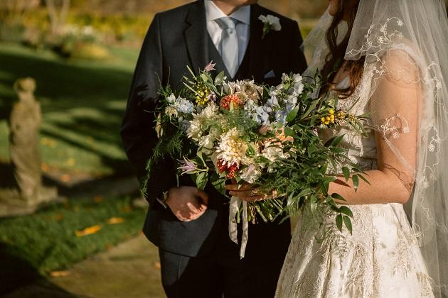 Bride Groom and Bouquet Shot