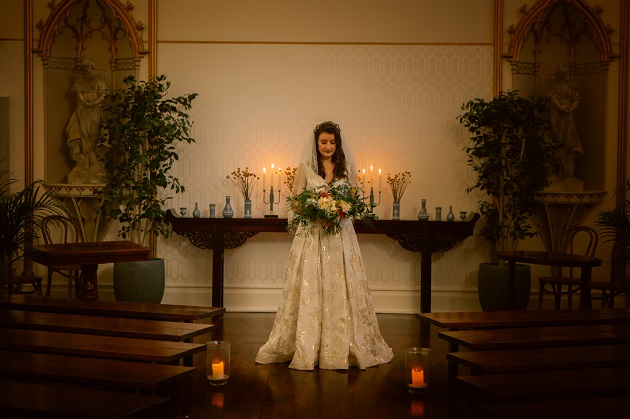 Bride with Bouquet Beauty Shot in Church